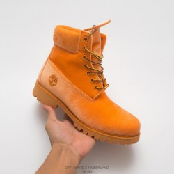 Timberland/OFF-WHITE X Timberland 6-Inch Boot Rhubarb Boots Crossover Four-Color factory lacin