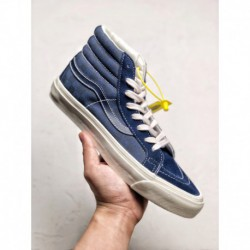 VANS VAULT OG SK8-HI Fresh Match With VANS VAULT OG SK8-HI18SS Classic Navy Off-White checkerboard high skate board shoes casua