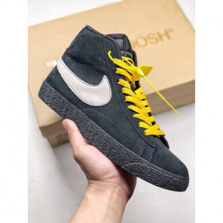 At9987 001 Nike Blazer Mid LA VS Nyc Crossover Vision Black Colorway Shoes With Huge White Swoos