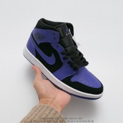 724-051 jordan/ Air Jordan 1 Mid Aj1 Joe 1 Vintage Distressed Classic Mid All-Match culture basketball-Shoes small black purple