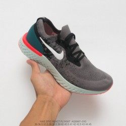 Aq0067-010 Nike Epic React Flyknit Pro Cotton Particles Knitting Ultra Lightweight Jogging Shoes Smoke Black Lake Aqua Green Fl