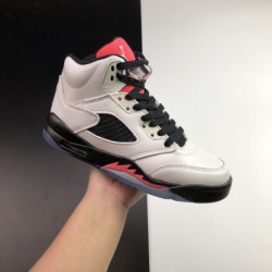 Jordan-5-White-Red-Black-Red-Jordan-5-Joe-5-Air-Jordan-5-GS-Sunblush-Sunset-Red-Upper-with-White-Leather-and-Rain-Red-and-Black