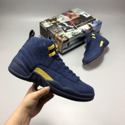 Where-To-Buy-Jordan-12-Jordan-12-Replica-For-Sale-AJ12-Michigan-Blue-Suede-Channel-Factory-Outlet-Original
