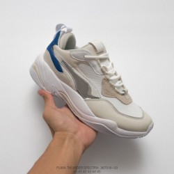 516-03 PUMA Thunder Spectra Electric Shock Vintage Dad Sneaker Breathable Leather Jogging Shoes Off-White electroplating blue s
