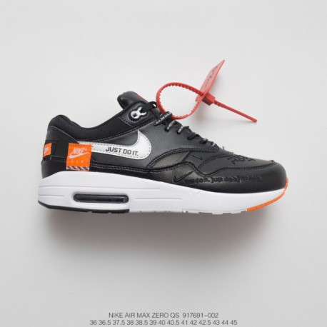 691-002 Upper FSR Super Bespoke Just Do It Nike Air Max 1 Classic Vintage Air Jogging Shoes Black And White Orang