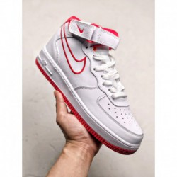 Nike Air Force 1 White Red Colorway Original Af1 Air Force No. 1 Mid White Color White Red High Imported Leather Original Box O