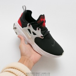 AV2605-016 nike presto react undercover set up all-Match jogging shoes black: red/White upper still uses presto origina